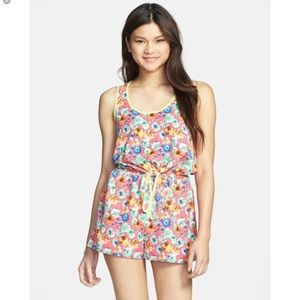 Everly hot pink floral romper.